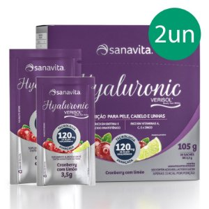 Kit 2 Hyaluronic Ácido Hialurônico + Verisol Sanavita 30 Sachês Cranberry + Limão