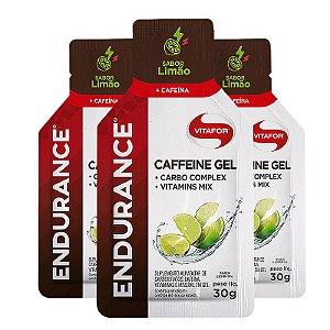 Kit 3 Endurance Caffeine Gel Vitafor Caixa 12 sachês Limão