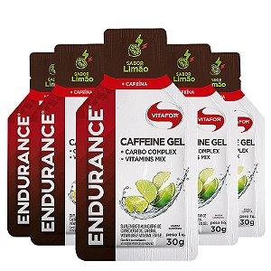 Kit 5 Endurance Caffeine Gel Vitafor Caixa 12 sachês Limão