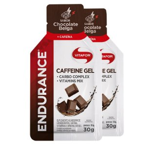 Kit 2 Endurance Caffeine Gel Vitafor Caixa 12 sachês Chocolate Belga