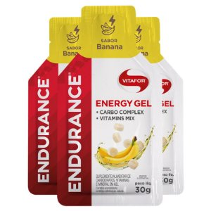 Kit 3 Endurance Energy Gel Vitafor Caixa 12 sachês Banana
