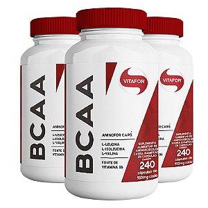 Kit 3 BCAA Aminofor com B6 Vitafor 240 cápsulas