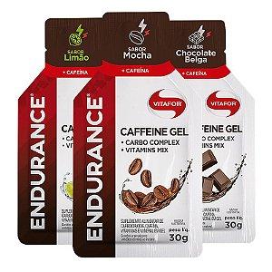 Kit 3 Endurance Caffeine Gel Vitafor Caixa 12 sachês Limão + Mocha + Chocolate Belga
