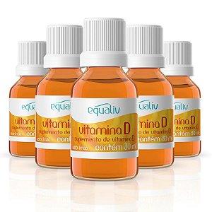 Kit 5 Vitamina D 200ui em Gotas Equaliv 30ml