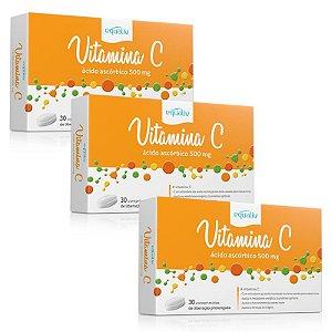 Kit 3 Vitamina C 500mg Ácido Ascórbico Equaliv 30 comprimidos