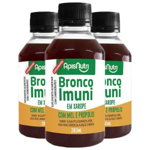 Kit 3 Bronco Imuni Xarope com Mel e Própolis Apisnutri 280ml