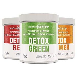Kit 3 Detox Green + Red + Summer Solúvel Apisnutri 300g