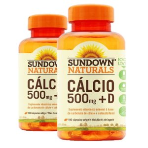 Kit 2 Cálcio 500mg + Vitamina D3 Sundown 100 cápsulas