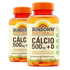 Kit 2 Cálcio 500mg + Vitamina D3 Sundown 100 cápsulas