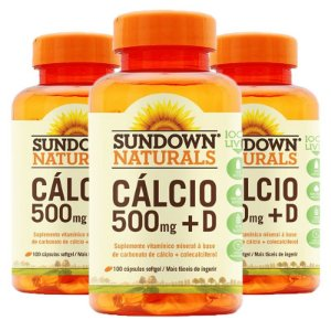 Kit 3 Cálcio 500mg + Vitamina D3 Sundown 100 cápsulas