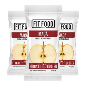 Kit 3 Maçã Snack Desidratada Fit Food 30g