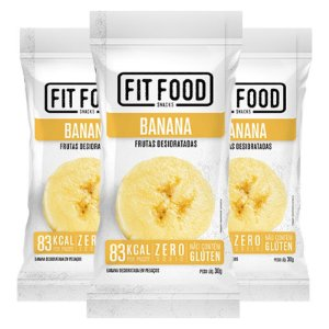 Kit 3 Banana Snack Desidratada Fit Food 30g