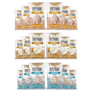 Kit 18 Cracker de Arroz Diversos Fit Food 40g Curcuma + Multigrãos + Natural