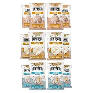Kit 12 Cracker de Arroz Diversos Fit Food Curcuma + Multigrãos + Natural