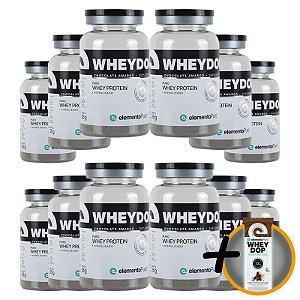 Kit 12 Wheydop HIDRO Whey Protein Monodose Elemento Puro 27g Chocolate Amargo + Brinde