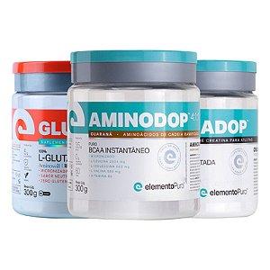 Kit Glutadop L-Glutamina 300g + Creadop Creatina 300g Elemento Puro + Aminodop Bcaa 300g