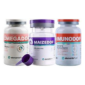 Kit Maizedop 1200g + Imunodop 120 Cápsulas + Ômegadop Cardio 60 Cápsulas Elemento Puro