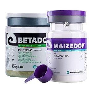 Kit Betadop Pré Treino Sem Cafeina 300g + Maizedop Waxy Maize Natural Elemento Puro 1200g