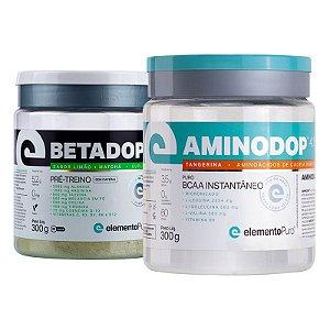 Kit Betadop Pre Treino Sem Cafeina 300g + Aminodop Bcaa Elemento Puro 300g