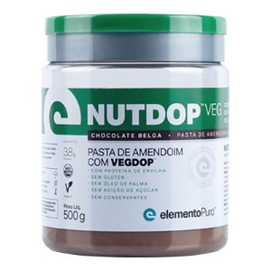 Nutdop Pasta de Amendoim Vegana Chocolate Belga Elemento Puro 500g