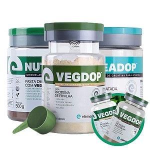Kit Vegdop Proteina de Ervilha 900g + Nutdop Pasta de Amendoim Vegana 500g + Creadop Elemento Puro 300g + Brinde