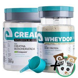 Kit Wheydop 3W Whey Protein 900g + Creadop Creapuro Creatina Monohidratada Elemento Puro 300g + Bônus