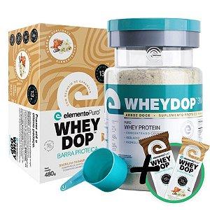 Kit Wheydop 3W Whey Protein 900g + Barra Proteica Wheydop Elemento Puro Baunilha Caramelizada 480g + Bônus