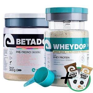 Kit Wheydop 3W Whey Protein 900g + Betadop Pré Treino Elemento Puro Tutti-frutti 300g + Bônus