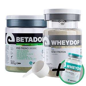 Kit Wheydop ISO Whey Protein 900g + Betadop Pré Treino Sem Cafeina Elemento Puro Limão com Matcha 300g + Bônus