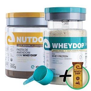 Kit Wheydop 3W Whey Protein 900g + Nutdop Pasta de Amendoim Elemento Puro Café Mocha 500g + Bônus