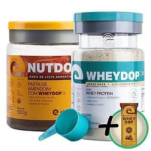 Kit Wheydop 3W Whey Protein 900g + Nutdop Pasta de Amendoim Elemento Puro Doce de Leite Argentino 500g + Bônus
