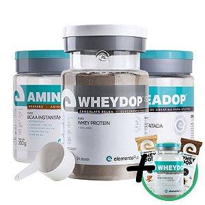 Kit Wheydop ISO Whey Protein 900g + Aminodop Bcaa Guaraná 300g + Creadop Creapuro Elemento Puro 300g + Bônus