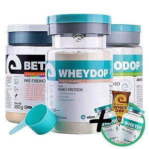 Kit Wheydop 3W Whey Protein + Aminodop Bcaa Maçã Verde + Betadop Pré Treino Elemento Puro Tangerina + Bônus