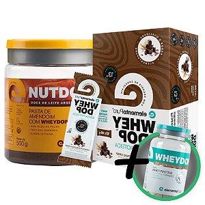 Kit Nutdop Pasta de Amendoim 500g + Barra Proteica Wheydop Elemento Puro Chocolate Maltado 480g + Bônus