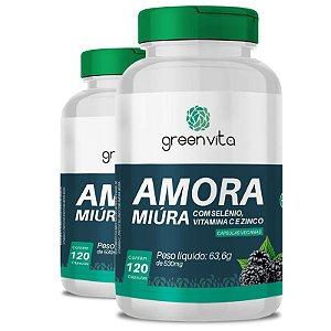 Kit 2 Amora Miura com Selênio, Vitamina C e Zinco Greenvita 120 cápsulas Veganas