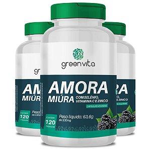 Kit 3 Amora Miura com Selênio, Vitamina C e Zinco Greenvita 120 cápsulas Veganas