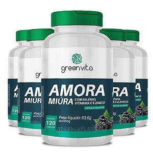 Kit 5 Amora Miura com Selênio, Vitamina C e Zinco Greenvita 120 cápsulas Veganas