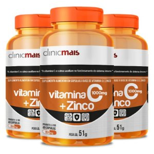 Kit 3 Vitamina C + Zinco Clinicmais 850mg 60 Cápsulas