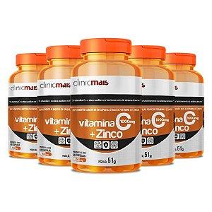 Kit 5 Vitamina C + Zinco Clinicmais 850mg 60 Cápsulas