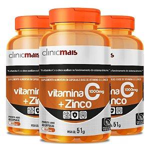 Kit 3 Vitamina C + Zinco Clinicmais 850mg 60 Cápsulas Vegana