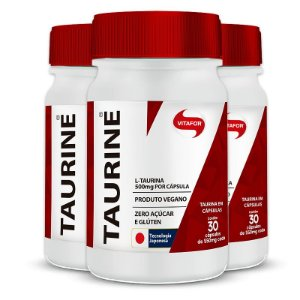 Kit 3 Taurine 500mg Vitafor 30 cápsulas