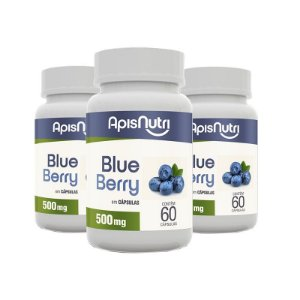 Kit 3 Farinha de Blueberry Apisnutri 60 cápsulas