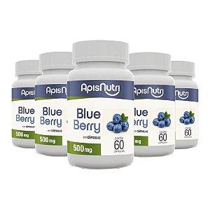 Kit 5 Farinha de Blueberry Apisnutri 60 cápsulas