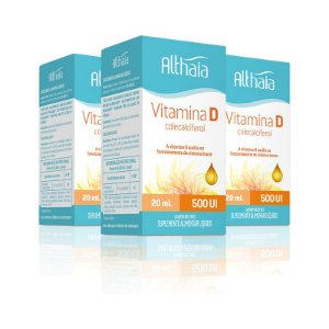 Kit 3 Vitamina D3 Colecalciferol 500ui Althaia 20 ml