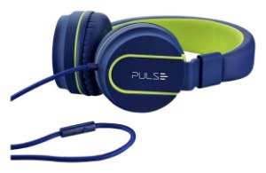 Fone Pulse Over Ear Wired Stereo Áudio Azul e Verde - PH162
