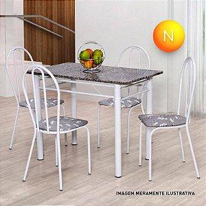 Conjunto Mesa Tampo Pedra com 4 Cadeiras