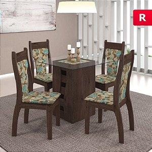Conjunto Sala de Jantar Mesa Milão 4 Cadeiras Madri Celta