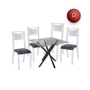 Conjunto Mesa de Jantar Tampo Vidro com 4 Cadeiras