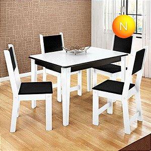 Mesa de Jantar com 4 Cadeiras Rubia Fit Branco Preto Madesa