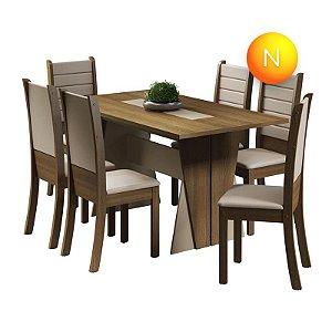Mesa de Jantar com 6 Cadeiras Rústico Creme Premium Fit Madesa